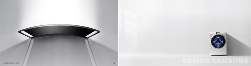 왼쪽엔 삼성 커브드 TV가, 오른쪽엔 삼성 드럼세탁기가 있습니다