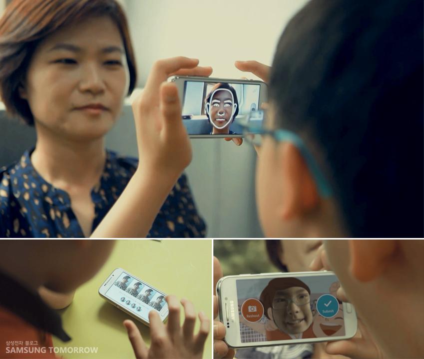 얼굴 윤곽을 가이드로 해 종현이가 엄마를 촬영하고 있습니다.