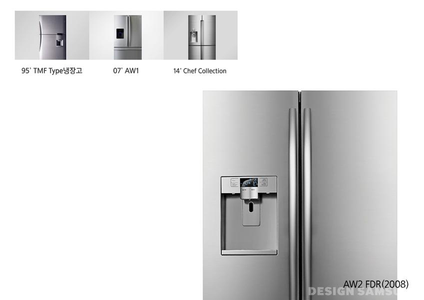 95년 TMF 타입 냉장고, 07년 AW1, 14년 셰프컬렉션, 08년 AW2 FDR 냉장고 디자인이 그려져 있습니다