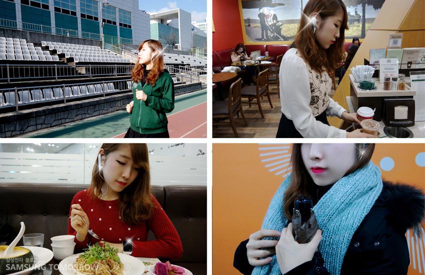 운동할 때, 카페에서, 밥 먹을 때, 목도리를 할 때, 언제나 기어S와 기어 서클을 착용하고 생활하는 모습을 보여주는 사진입니다.