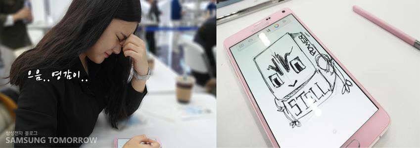 어떻게 그릴지 고민하는 정민이의 모습과 정민이가 그린 그림을 촬영한 사진입니다.