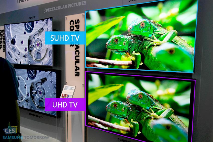 부스에 마련된 SUHD TV(위)와 UHD TV(아래)입니다.