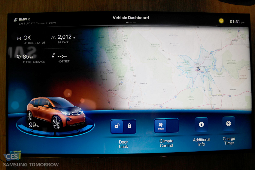 기어S와 연동된 BMW 차량 사진입니다