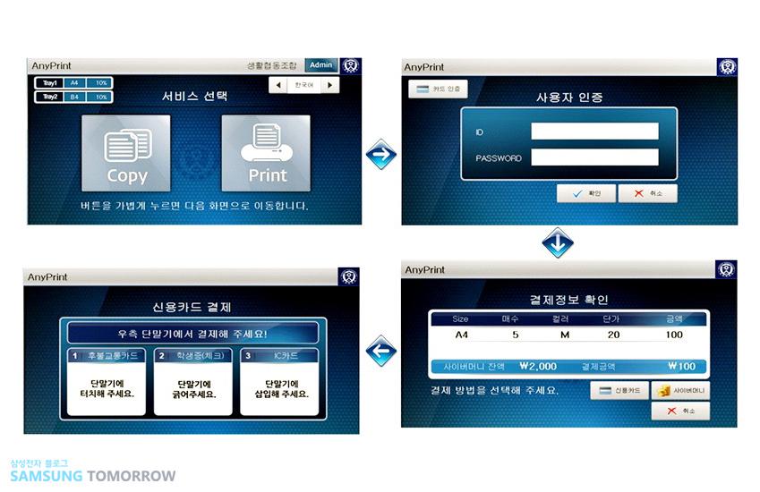 애니프린트 생활협동조합 서비스 선택 버튼을 가볍게 누르면 다음 화면으로 이동합니다 사용자 인증 신용카드 결제 우측 단말기에서 결제해 주세요! 1 후불교통카드 단말기에 터치해 주세요 2 학생증(체크) 단말기에 긁어주세요 3 IC카드 단말기에 삽입해 주세요 결제정보 확인 STEP 매수 컬러 단가 금액 사이버머니 잔액 결제금액 결제 방법을 선택해 주세요 신용카드 사이버머니 취소
