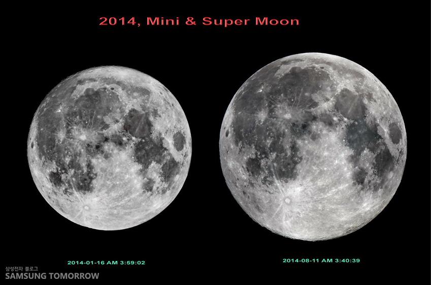 2014년 미니문과 슈퍼문(오른쪽)