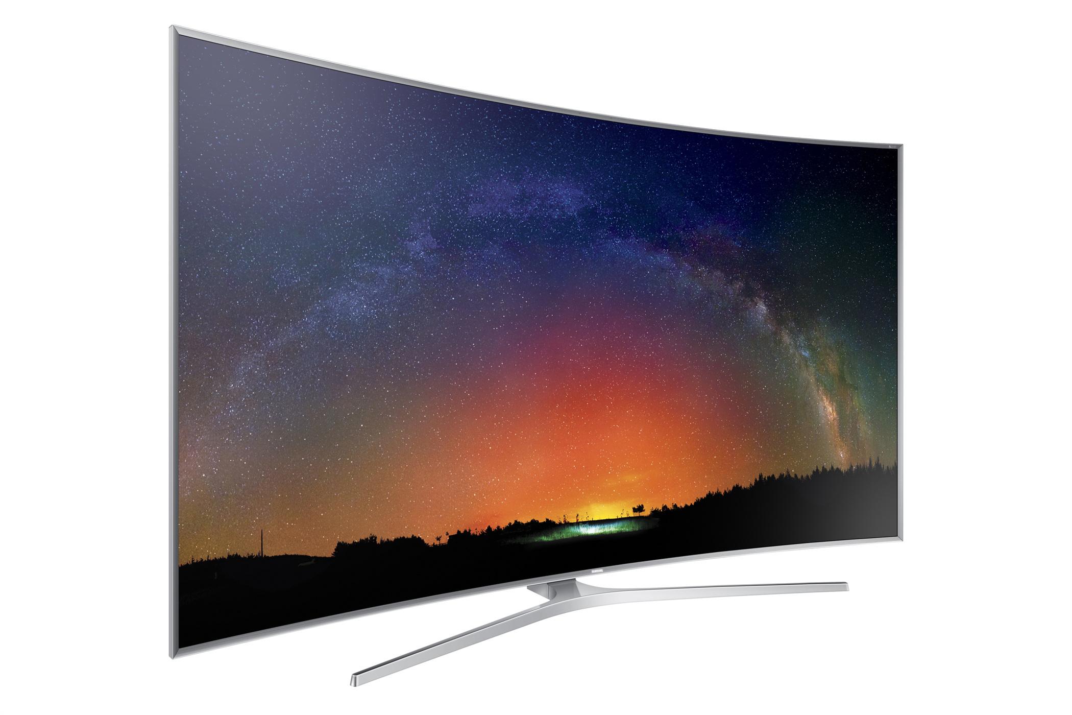 커브드 디자인이 돋보이는 SUHD TV의 측면 모습입니다