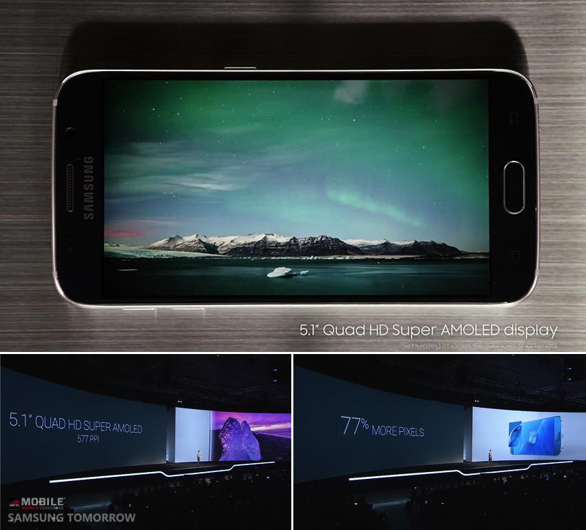 위엔 오로라를 표현하고 있는 갤럭시 S6의 선명한 화면이, 아래엔 갤럭시 언팩 행사 중 5.1형 쿼드HD 슈퍼아몰레드 디스플레이와 577ppi, 77% 더 높아진 화소 등을 설명하는 모습이 보입니다.
