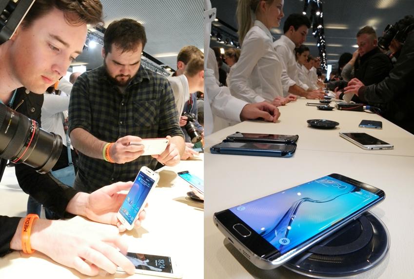 갤럭시 S6 체험존에서 갤럭시  신제품을 체험하고 있는 사람들 모습입니다.