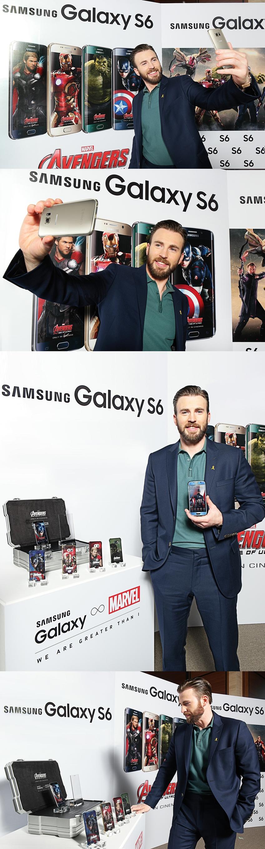 어벤져스 내한 행사에 참석한 크리스 에반스가 갤럭시 S6의 후면 커버를 설명하고, 셀피를 찍는 모습