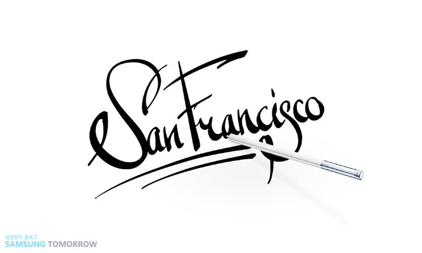 샌프란시스코라고 쓰여진 캘리그래피 작품 사진입니다.