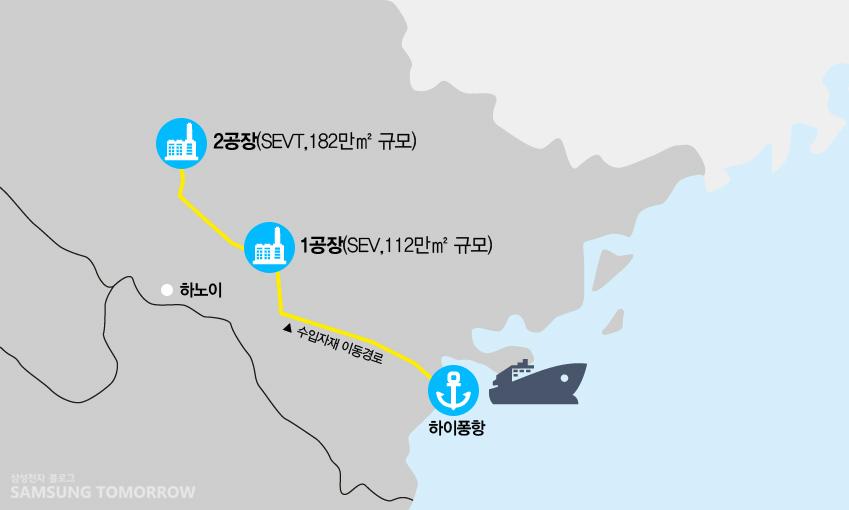 삼성전자 베트남복합단지 분포도. 하노이시를 기점으로 동쪽 박닝성에 1공장(SEV)이, 북쪽 타이응웬성에 2공장(SEVT)이 각각 위치하고 있다