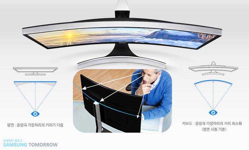 눈이 편안한 최적의 곡률을 구현한 삼성 커브드 모니터
