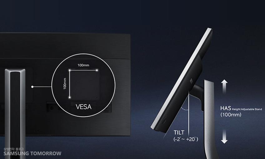 높낮이 각도 등을 조절할 수 있는 삼성 커브드 모니터