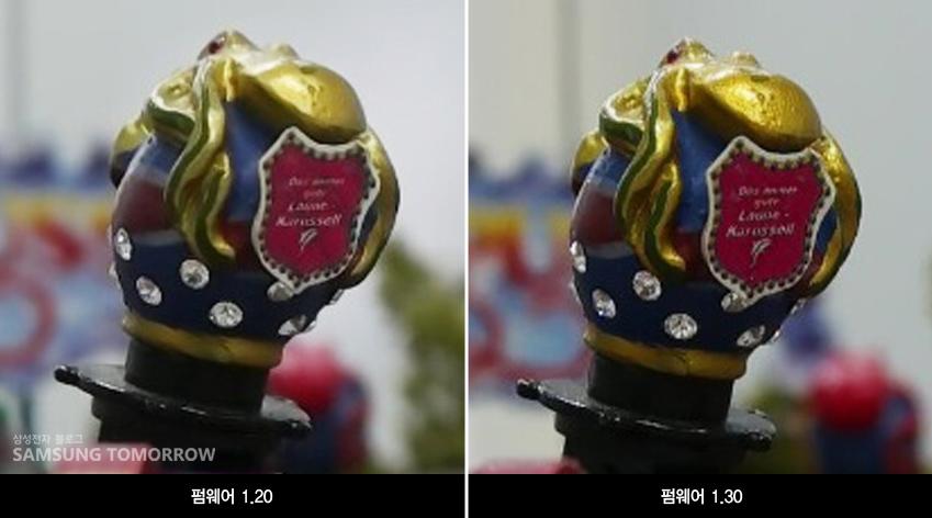 자세히 보면 왼쪽보다 오른쪽 사진이 글자가 더 또렷하고 금색 질감도 선명하게 드러난다는 걸 알 수 있는데요. 또 다른 조건에서 촬영한 동영상 캡처 화면을 볼까요?