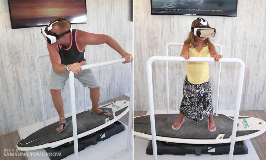 가장 인기 있는 코너는 바로 삼성 기어 VR 체험 존이었습니다. 삼성전자는 이번 서핑 대회에 맞춰 가상으로 서핑을 즐길 수 있는 360도 파노라믹 뷰의 영상을 제작했는데요. 이 영상에선 삼성브라질의 서핑 엠배서더이자 2014 ASP 월드 투어 우승자인 가브리엘 메디나가 등장,사용자가 그와 함께 서핑하는 듯한 체험을 즐길 수 있게 했습니다.