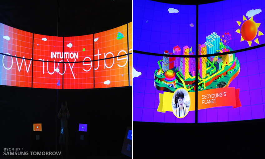 흥미로운 시각적 경험을 제공하는 SUHD TV(왼쪽 사진)와 체험을 통해 완성된 행성입니다.