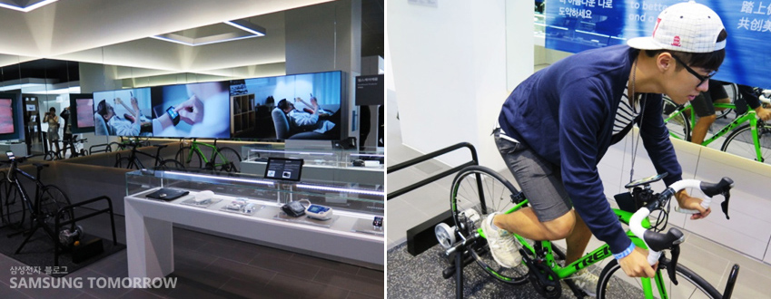 케어 존에 설치된 자전거를 이용하면 S헬스 애플리케이션의 건강 관리 시스템을 체험해볼 수 있다.