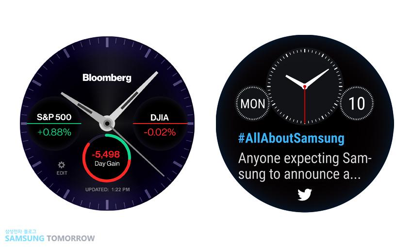 트위터 워치페이스에서현재 트위터의 최신 트렌드를,블룸버그 워치페이스에서사용자가관심 있는 주식의 현재 가격을 각각확인하는 화면입니다.