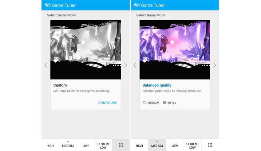 게임튜너 애플리케이션에서 게임 내 쾌적한 게임환경을 위하여 해상도, 프레임 등을 조정하는 화면입니다.