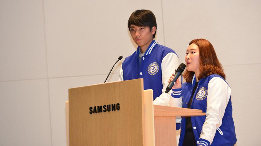 해단식 사회를 맡은 최재민(사진 왼쪽) 나눔 VM 중앙자치회장과 이효진양
