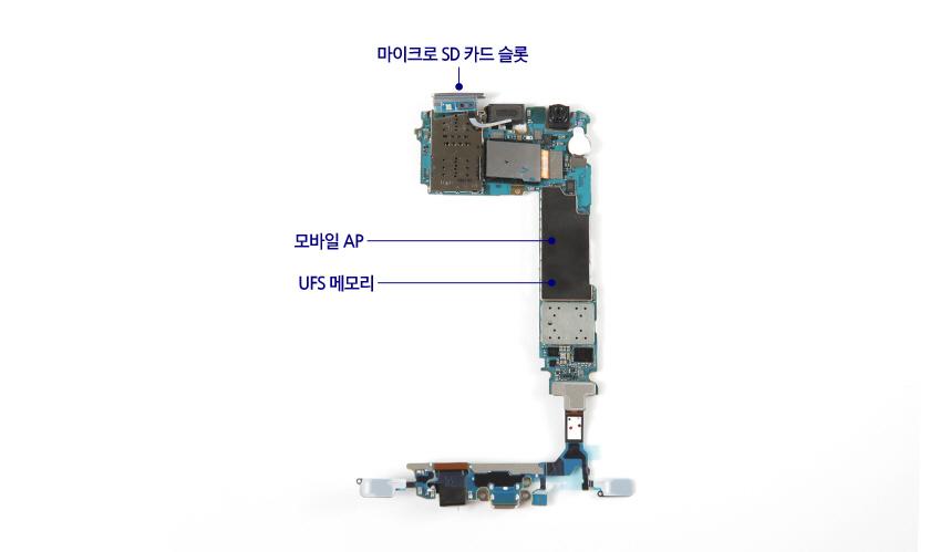 갤럭시S7분해도 - 메모리카드, SD카드 슬롯, 모바일AP, UFS 메모리