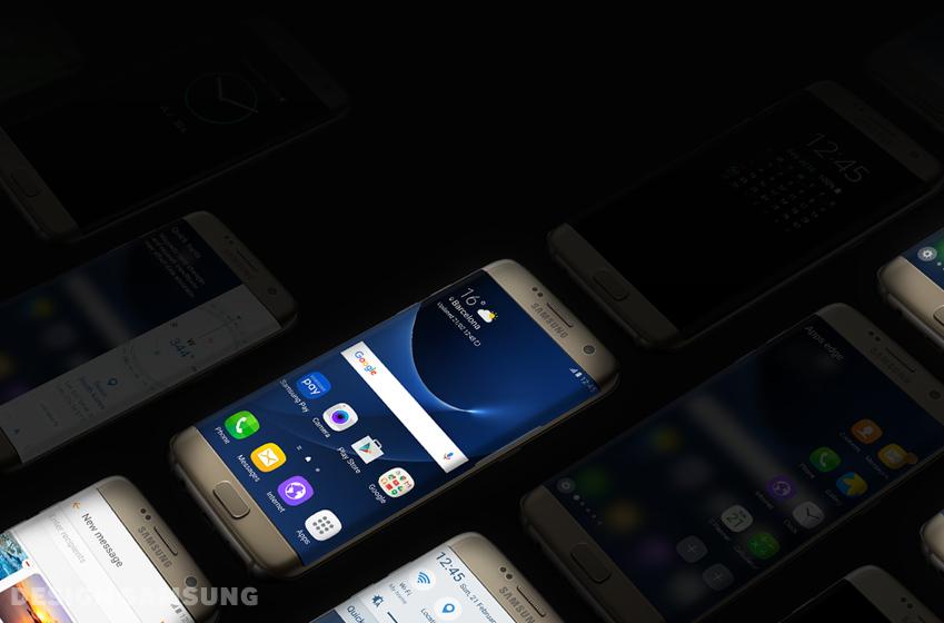 어둠 속에서 빛나는 갤럭시 S7 제품 이미지