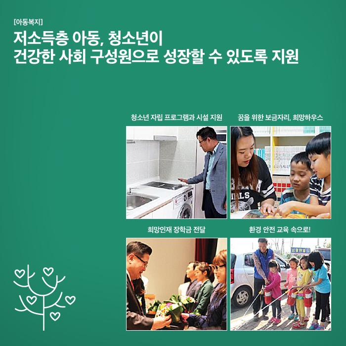 [아동복지] 저소득층 아동, 청소년이 건강한 사회 구성원으로 성장할 수 있도록 지원. 청소  년 자립 프로그램과 시설 지원, 꿈을 위한 보금자리, 희망하우스, 희망인재 장  학금 전달, 환경 안전 교육 속으로!