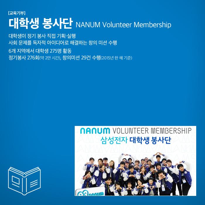 [교육기부] 대학생 봉사단 NANUM Volunteer Membership 대학생이 정기 봉사 직접 기획, 실  행, 사회 문제를 독자적 아이디어로 해결하는 창의 미션 수행 6개 지역에서 대  학생 275명 활동 정기봉사 276회(약 2만 시간), 창의미션 29건 수행(2015년 한   해 기준)