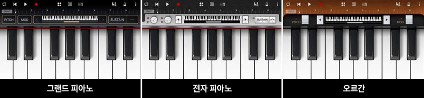 그랜드 피아노, 전자 피아노, 오르간