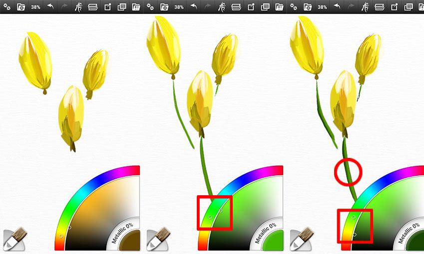 럭비공 모양의 꽃봉오리에 기본 색상 한 번, 어두운 부분 한 번… 좀 더 욕심 내시려면 반사광이나 강한 빛을 더 넣어주세요(줄기를 그릴 때도 마찬가집니다).