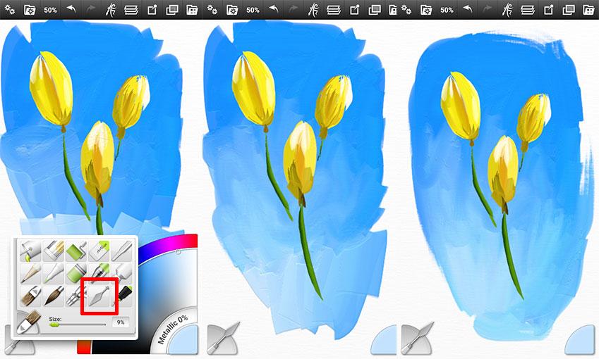 나이프 도구를 선택, 역시 쓱쓱 문지르세요. 실제 그림에서도 잘 내기 어려운 '유화 효과'를 놀랍도록 손쉽게 발휘할 수 있습니다