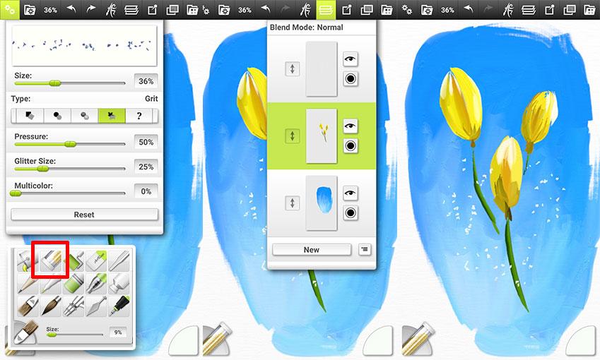 상세 설정에서 알갱이 모양과 크기, 색상 등을 자유롭게 변경하실 수 있습니다. 단 이 단계에선 너무 과하지 않게 적정량을 고루 흩뿌려주셔야 한다는 사실, 잊지 마세요!