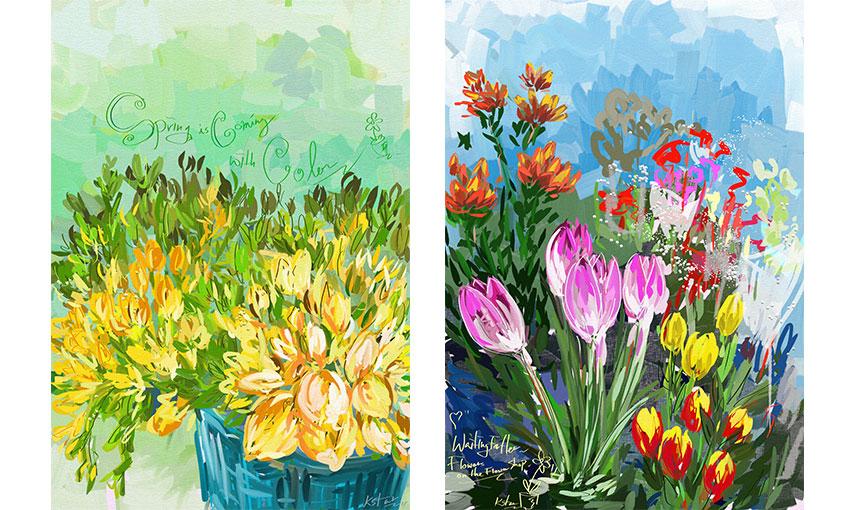 작업에 도움이 되실까 해 예전에 비슷한 느낌으로 그려둔 그림을 몇 개 더 보여드리겠습니다. 시골 어머니 댁 화분도, 동네 꽃집을 지나가다 발견한 꽃들도 있네요.