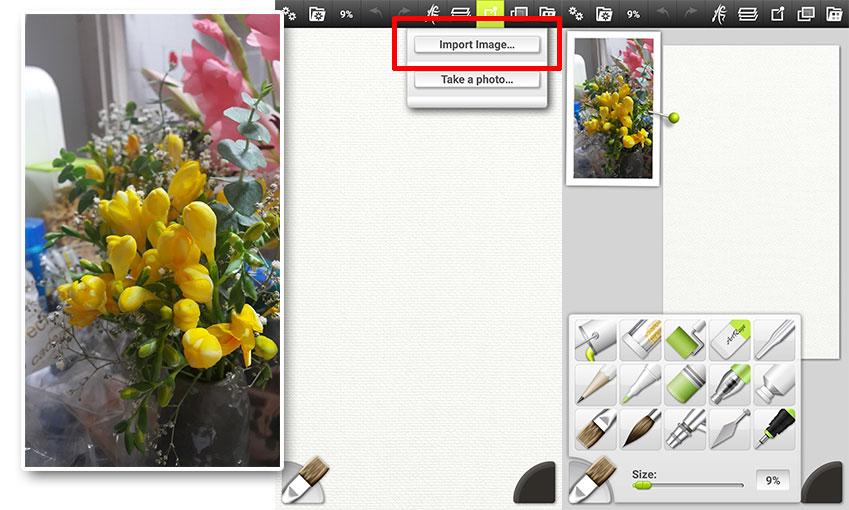 오른쪽 세 번째 '레퍼런스(Reference)' 메뉴를 클릭한 후 갤러리 속 이미지를 불러오세요. 불러온 이미지가 캔버스 위로 떠오르죠? 두 손가락을 이용하면 크기나 위치를 바꿀 수도, 회전시킬 수도 있습니다.