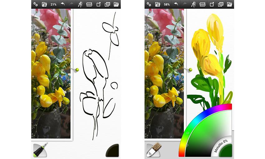 왼쪽 그림의 '펜 스케치'처럼 단순히 모양과 위치를 잡아주는 정도만 해도 충분하죠. 오른쪽 그림에서처럼 곧바로 채색하는 방식도 종종 사용하고요.