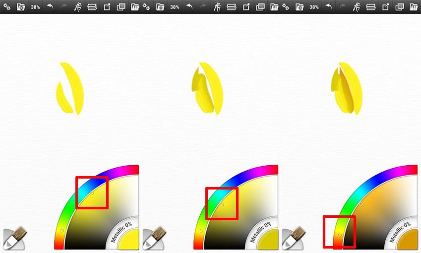 팔레트에서 바깥쪽 점은 색상, 안쪽 점은 명암을 각각 나타냅니다. 단순하게 두세 단계로만 명암을 넣어주면서 쓱쓱 그리시면 됩니다.