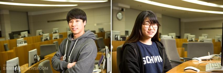 """""""타이젠을 활용한 사물인터넷 가구를 만들고 싶다""""는 박종원(왼쪽 사진)씨와 """"개발 단계에서 참고할 만한 자료가 많지 않은 점이아쉽다""""는 오윤정씨"""