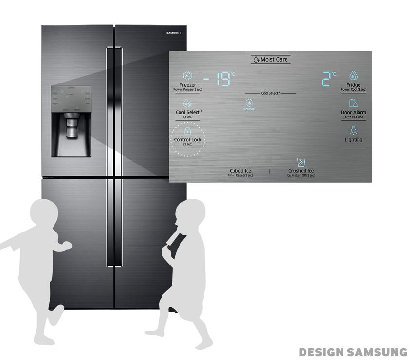 냉장고에 컨트롤 버튼이 있다