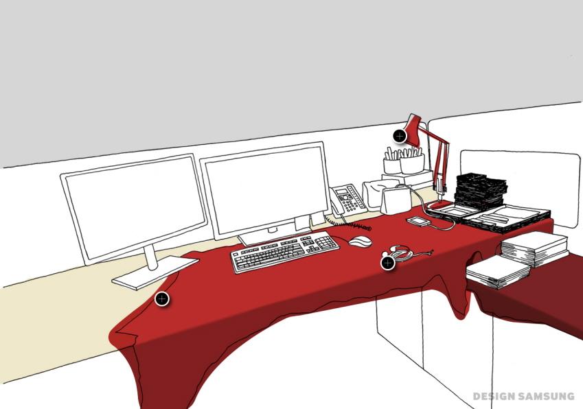 빨간색 가죽이 덮은 책상