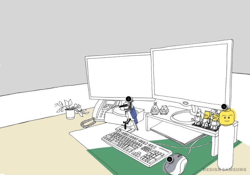 레고 아이디어 제품으로 가득한 책상 이미지