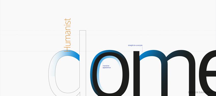간결하고 일관된 넓이의 획(monoline stroke)을 기본으로 만든 삼성원 폰트