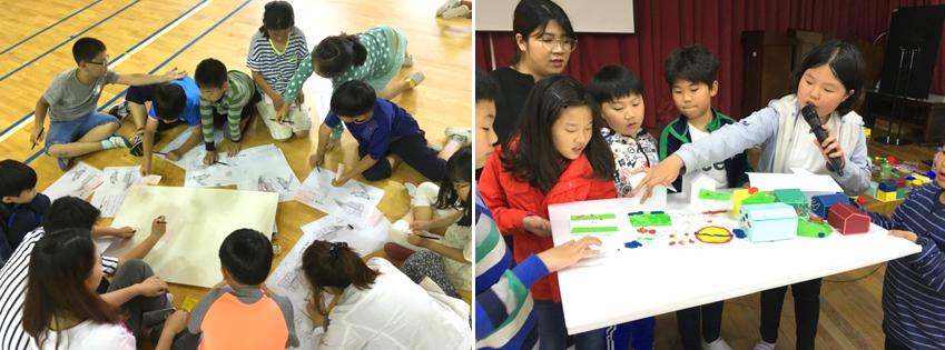 영암군<왼쪽 사진>과 청송군 지역 어린이들은 각자 원하는 지역아동센터의 모습을 그려보고 발표하는 모습