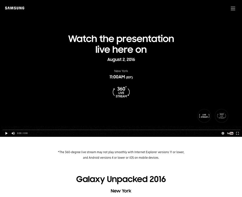 Watch the presentation live here on August 2.2016 NewYork 11:00 AM 갤럭시 언팩 동영상 캡처