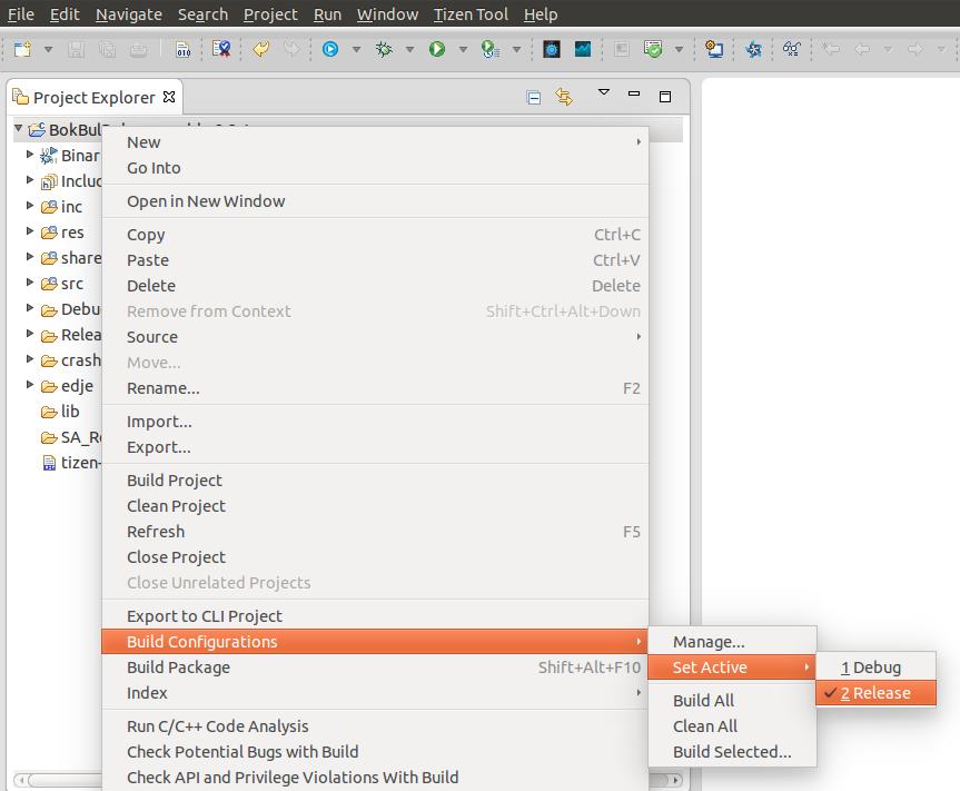 tpk 파일을 생성하려면 아래 사진에서처럼 △타이젠 SDK에서 복불복 게임 워치페이스 앱 프로젝트를 선택하고 △마우스 우측 버튼을 누른 후 △'Build Configurations'와 'Set Active', 'Release'를 차례로 선택