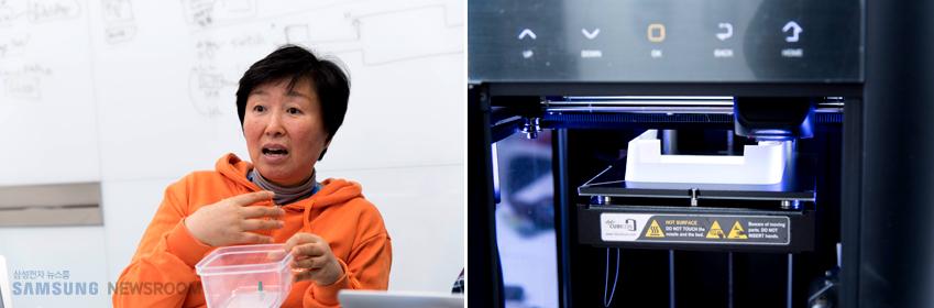 그가 시연용 용기 제작을 위해 직접 들고 온 3D 프린터와 본인의 냉장고 사용 경험에서 아이디어를 착안, 개발에 나선 줌마재 팀원 장성숙(왼쪽 사진)씨.