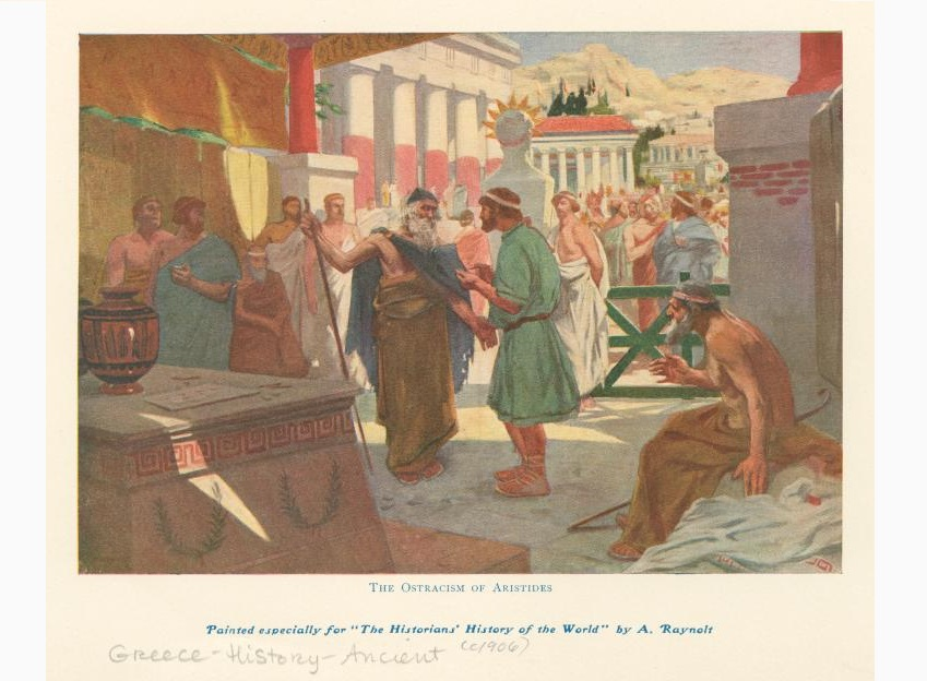 """THE OSTARCISM OF ARISTIDES Painted especially for """"The Historians' History of the world"""" by A. Rayolt Greece History - Ancient(1904)"""