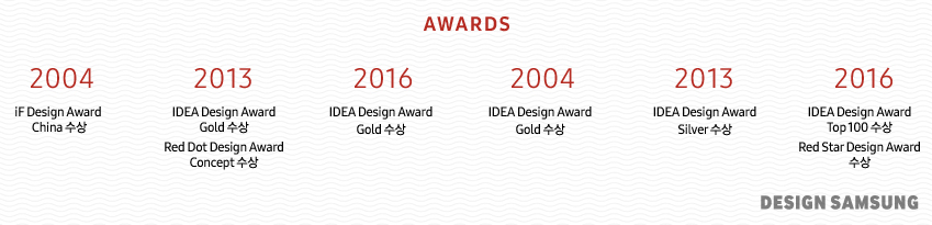 AWARDS 2004 iF Design Award China 수상 2013 IDEA Design Award Gold수상 Red Dot Design Award Concept수상 2016 IDEA Design Award Gold수상 2004 IDEA Design Award Gold수상 2013 IDEA Design Award Silver수상 2016 IDEA Design Award Top 100 수상 Red Star Design Award 수상