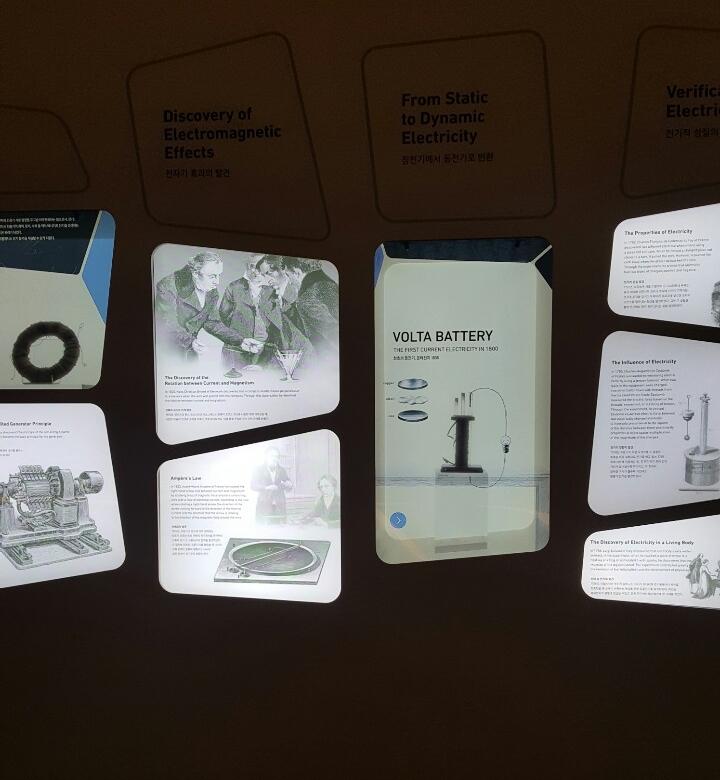 S/I/M 1관 전기 코너에 전시된 볼타전지 전시물