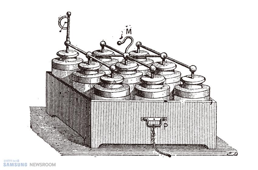 여러 개의 라이덴병을 모아 만든 전기 배터리 그림