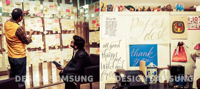 디자이너로 보이는 2명의 남자가 메모장을 보고 있다